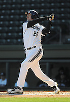 First baseman Jack Havey (26) of the Northwestern Wildcats hits in a game against the Michigan State Spartans on Sunday, February 17, 2013, at Fluor Field at the West End in Greenville, South Carolina. Michigan State won, 7-4. (Tom Priddy/Four Seam Images)