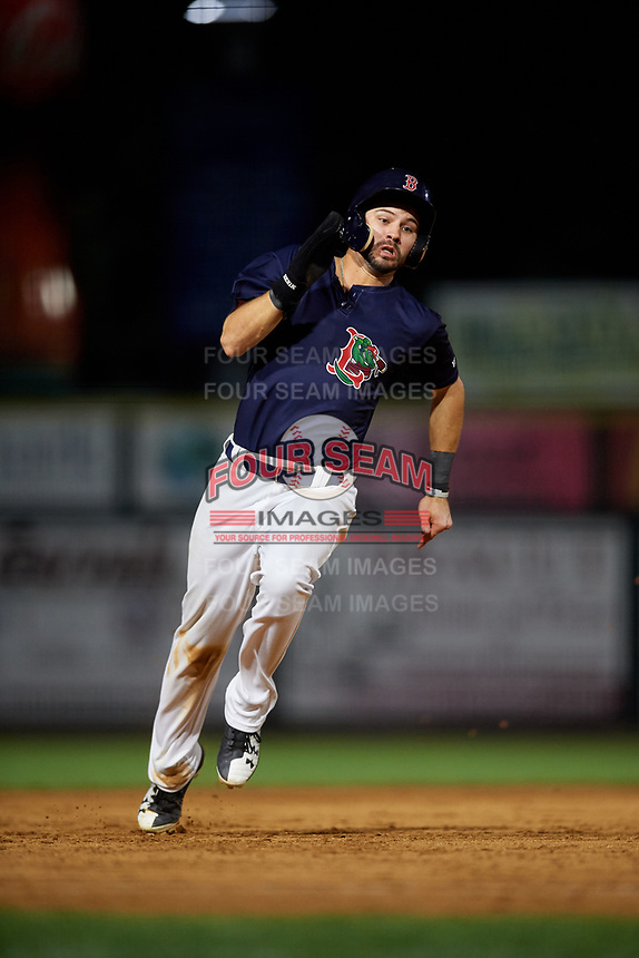 Lowell Spinners right fielder Lane Milligan (64) runs the bases during a game against the Vermont Lake Monsters on August 25, 2018 at Edward A. LeLacheur Park in Lowell, Massachusetts.  Vermont defeated Lowell 4-3.  (Mike Janes/Four Seam Images)