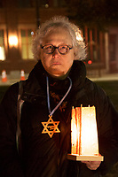 Susan Falkoff at candlelight vigil for victims of Pittsburgh Synagogue shooting held in Watertown, MA 10.30.18