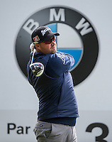 19.05.2015. Wentworth, England. BMW PGA Golf Championship. Practice Day. Peter Hanson during the practice round of the 2015 BMW PGA Championship from The West Course Wentworth Golf Club