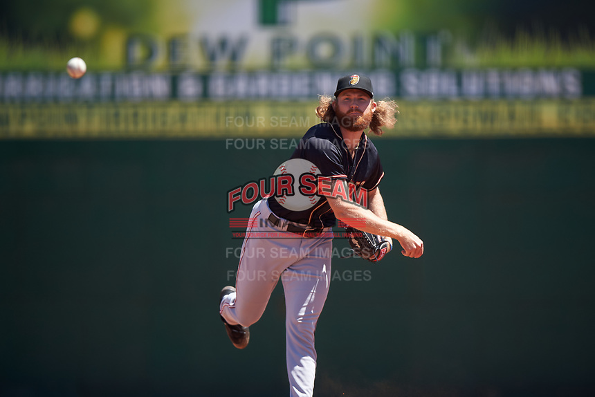 Modesto Nuts relief pitcher Kyle Wilcox (30) during a California League game against the Inland Empire 66ers on April 10, 2019 at San Manuel Stadium in San Bernardino, California. Inland Empire defeated Modesto 5-4 in 13 innings. (Zachary Lucy/Four Seam Images)
