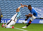 04.10.2020 Rangers v Ross County: Alfredo Morelos has a shot on goal blocked by Coll Donaldson