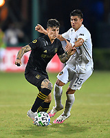 LAKE BUENA VISTA, FL - JULY 18: Brian Rodríguez #17 of LAFC turns away from Joe Corona #15 of LA Galaxy during a game between Los Angeles Galaxy and Los Angeles FC at ESPN Wide World of Sports on July 18, 2020 in Lake Buena Vista, Florida.