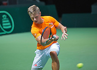 Switserland, Genève, September 16, 2015, Tennis,   Davis Cup, Switserland-Netherlands, Practise Dutch team, Tim van Rijthoven <br /> Photo: Tennisimages/Henk Koster