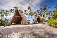 Halau canoe shelters in Pu'uhonua o Honaunau National Historical Park (City of Refuge), Big Island.