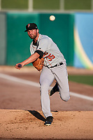 Fresno Grizzlies starting pitcher Kent Emanuel (35) warms up in the bullpen prior to the game against the Salt Lake Bees at Smith's Ballpark on September 3, 2017 in Salt Lake City, Utah. The Bees defeated the Grizzlies 10-8. (Stephen Smith/Four Seam Images)