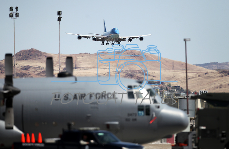 Air Force One lands in Reno, Nev. on Friday, May 11, 2012. (AP Photo/Cathleen Allison)