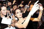 """Angelina Jolie, Jun 23, 2014 : Tokyo, Japan : The actress Angelina Jolie takes a picture with fans during the Japan premier for the film """"Maleficent"""" in Yebisu Garden Place on June 23, 2014. The movie will be released on July 5th. (Photo by Rodrigo Reyes Marin/AFLO)"""