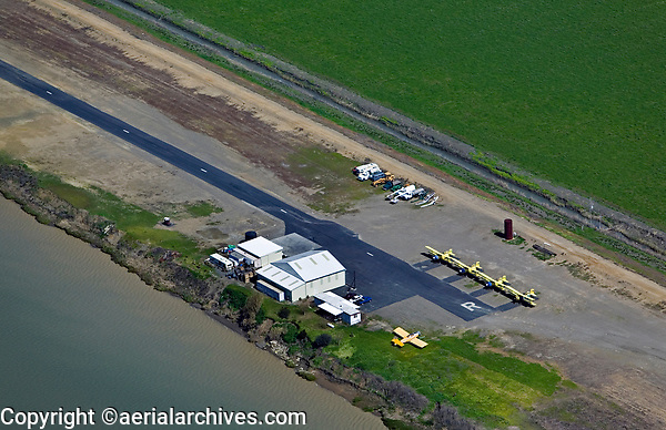 aerial photograph of a private, restricted airport in the San Joaquin valley, California used for crop dusting