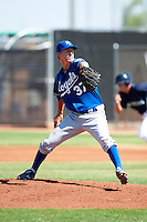 Kansas City Royals minor league pitcher Alec Mills #37 during an instructional league game against the Seattle Mariners at the Peoria Sports Complex on October 2, 2012 in Peoria, Arizona. (Mike Janes/Four Seam Images)