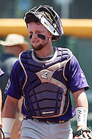TCU Horned Frogs catcher Evan Skoug (9) before the game against Texas Tech Red Raiders in the NCAA College World Series on June 19, 2016 at TD Ameritrade Park in Omaha, Nebraska. TCU defeated Texas Tech 5-3. (Andrew Woolley/Four Seam Images)