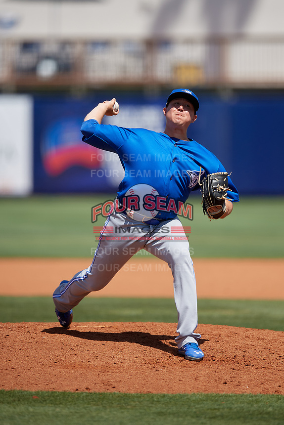 Dunedin Blue Jays relief pitcher William Ouellette (15) during a Florida State League game against the Charlotte Stone Crabs on April 17, 2019 at Charlotte Sports Park in Port Charlotte, Florida.  Charlotte defeated Dunedin 4-3.  (Mike Janes/Four Seam Images)