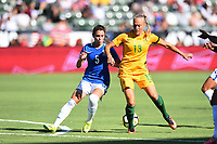 Carson, CA - Thursday August 03, 2017: Djenifer, Tameka Butt during a 2017 Tournament of Nations match between the women's national teams of Australia (AUS) and Brazil (BRA) at the StubHub Center.