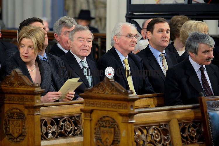 Government ministers, Mary Coughlan, Seamus Brennan, John Gormely, Tom Kitt and Willie O Dea at the Removal of Dr Patrick Hillery to St Marys Pro-Cathedral in Dublin. Photograph by John Kelly.