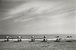 Six beach umbrellas, Rehoboth Beach, Delaware. 1973. File #73-148-4