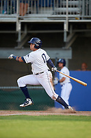 Princeton Rays designated hitter Jonathan Aranda (17) grounds out during the first game of a doubleheader against the Johnson City Cardinals on August 17, 2018 at Hunnicutt Field in Princeton, Virginia.  Johnson City defeated Princeton 6-4.  (Mike Janes/Four Seam Images)
