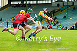 Maurice O'Connor, Kerry scores Kerry's First goal despite the efforts Michael Hughes and Caolan Taggart, Down during the National hurling league between Kerry v Down at Austin Stack Park, Tralee on Sunday.