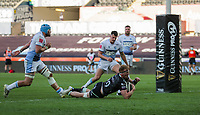 24th April 2021; Liberty Stadium, Swansea, Glamorgan, Wales; Rainbow Cup Rugby, Ospreys versus Cardiff Blues; Sam Cross of Ospreys scores his sides  try of the match to make the score 29-7
