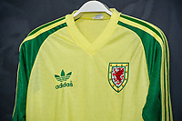 Clayton Blackmores' 1984/86 Wales away shirt is displayed at The Art of the Wales Shirt Exhibition at St Fagans National Museum of History in Cardiff, Wales, UK. Monday 11 November 2019