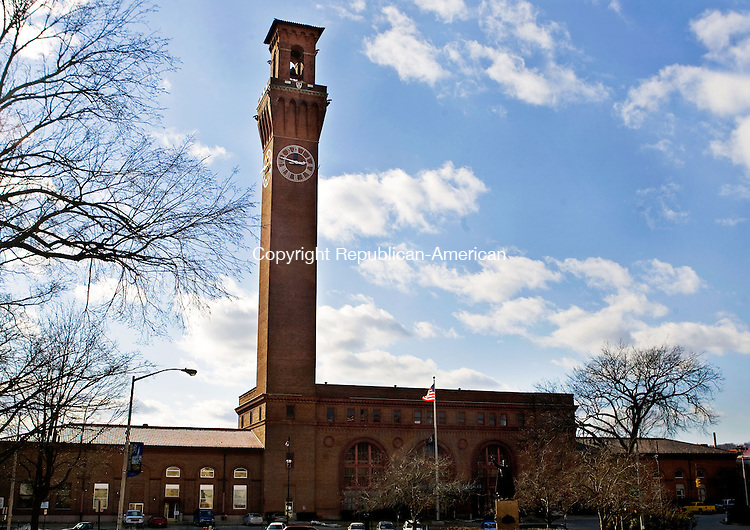 WATERBURY, CT - 23 FEBRUARY 2009 -022309JT01-<br /> The Union Station clock tower in downtown Waterbury on Feb. 23, 2009.<br /> Josalee Thrift Republican-American
