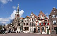 Nederland Leiden - 2021.  Historische panden en kerken aan de Steenschuur in Leiden. Foto ANP / Hollandse Hoogte / Berlinda van Dam