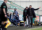 Hibs v St Johnstone…01.05.21  Easter Road. SPFL<br />Hibs boss Jack Ross complains to the linesman<br />Picture by Graeme Hart.<br />Copyright Perthshire Picture Agency<br />Tel: 01738 623350  Mobile: 07990 594431