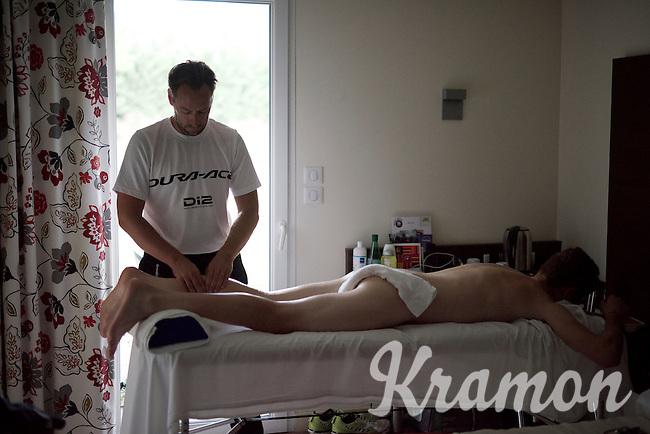 soigneur Joachim Schoonacker (BEL) massages Luke Durbridge (AUS/Orica-GreenEDGE)<br /> <br /> 2015 Tour de France<br /> Orica-GreenEDGE restday 2 in Gap