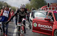 Ryder Hesjedal (CAN/Trek-Segafredo) post-race<br /> <br /> 102nd Liège-Bastogne-Liège 2016