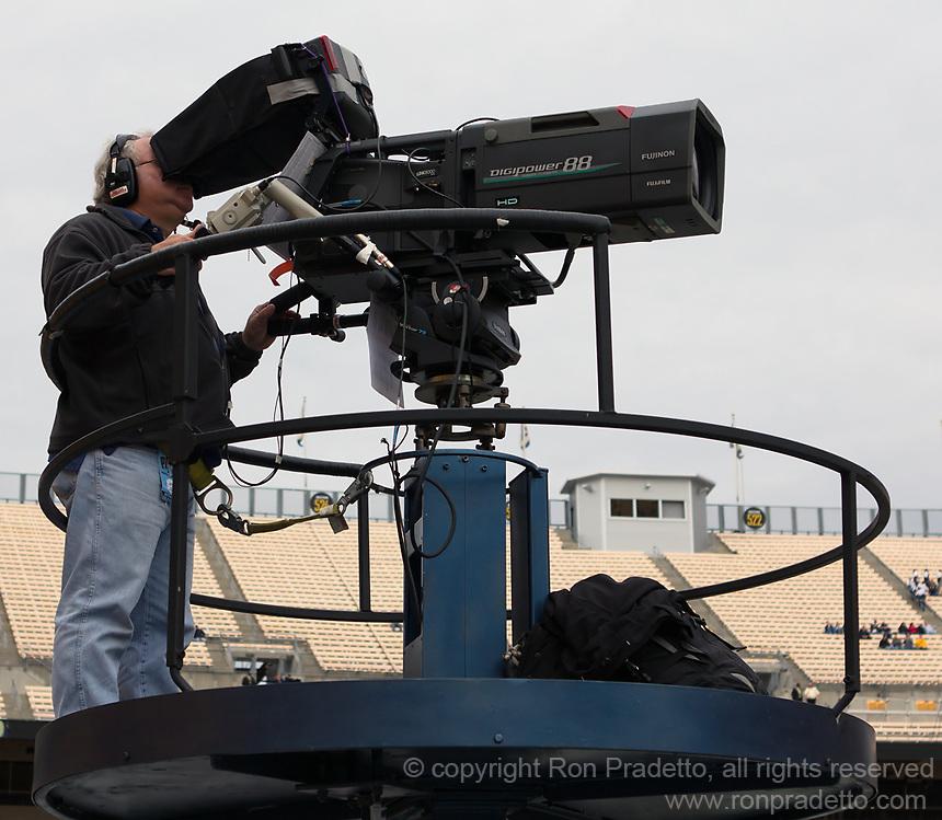 Television cameraman. The North Carolina Tar Heels defeated the Pitt Panthers 34-27 at Heinz Field, Pittsburgh Pennsylvania on November 16, 2013.