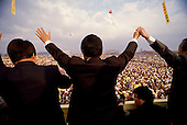"""Inchon, South Korea<br /> December 8 1987<br /> <br /> Kim Dea-jong, the opposition leader to the ruling party campaigning during the South Korean presidential elections. <br /> <br /> Kim Dae-jung (3 December 1925 to 18 August 2009) was President of South Korea from 1998 to 2003, and the 2000 Nobel Peace Prize recipient. As of this date Kim is the first and only Nobel laureate to hail from Korea. A Roman Catholic since 1957, he has been called the """"Nelson Mandela of Asia"""" for his long-standing opposition to authoritarian rule."""