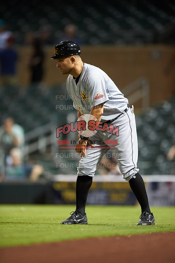 Mesa Solar Sox manager Mike Rabelo (23), of the Detroit Tigers organization, coaches third base during an Arizona Fall League game against the Salt River Rafters on September 19, 2019 at Salt River Fields at Talking Stick in Scottsdale, Arizona. Salt River defeated Mesa 4-1. (Zachary Lucy/Four Seam Images)