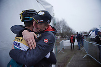 A happy Sports Director Kris Wouters hugging Toon Aerts' (BEL/Telenet-Fidea) after first important pro win<br /> <br /> Soudal Classic Leuven 2016