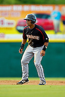 Micah Johnson (37) of the Kannapolis Intimidators takes his lead off of second base against the Hickory Crawdads at L.P. Frans Stadium on May 25, 2013 in Hickory, North Carolina.  The Crawdads defeated the Intimidators 14-3.  (Brian Westerholt/Four Seam Images)