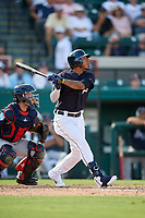 Detroit Tigers second baseman Harold Castro (70) flies out during a Grapefruit League Spring Training game against the Atlanta Braves on March 2, 2019 at Publix Field at Joker Marchant Stadium in Lakeland, Florida.  Tigers defeated the Braves 7-4.  (Mike Janes/Four Seam Images)