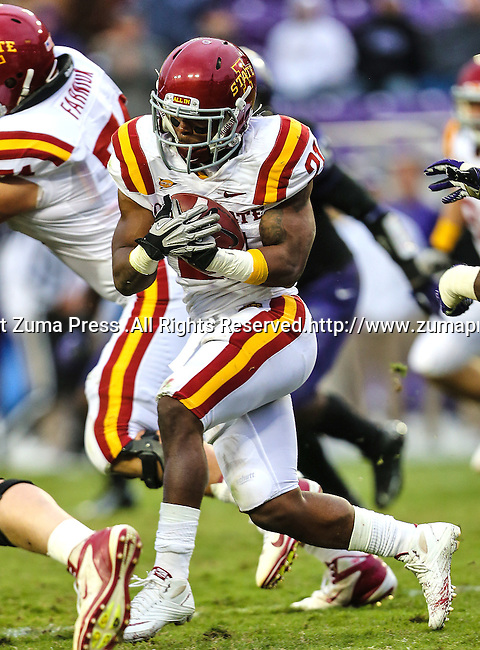 Iowa State Cyclones running back Shontrelle Johnson (21) in action during the game between the Iowa State Cyclones and the TCU Horned Frogs  at the Amon G. Carter Stadium in Fort Worth, Texas. Iowa State defeats TCU 37 to 23.