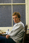 Martin Amis in Notting Hill west London flat 1980s.Uk