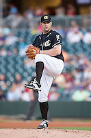 Charlotte Knights starting pitcher Brad Penny (46) in action against the Gwinnett Braves at BB&T BallPark on August 11, 2015 in Charlotte, North Carolina.  The Knights defeated the Braves 3-2.  (Brian Westerholt/Four Seam Images)