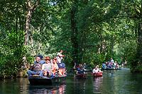 Kahntouren und Paddler auf einem Fließ, Biosphärenreservat Spreewald, Brandenburg, Deutschland