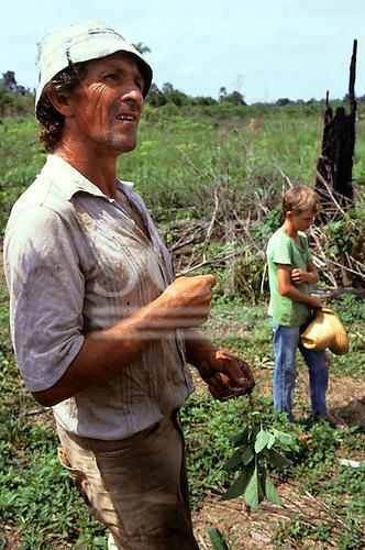 Juruena, Brazil. Settler farmer with ragged hat on his land in the Amazon.