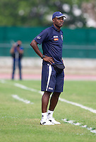 Panama head coach Jorge Dely Valdes watches his team from the sideline during the quarterfinals of the CONCACAF Men's Under 17 Championship at Catherine Hall Stadium in Montego Bay, Jamaica. Panama defeated Costa Rica, 1-0.