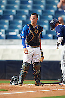Catcher Ty Duvall (20) of Lebanon High School in Lebanon, Ohio playing for the Chicago Cubs scout team during the East Coast Pro Showcase on July 28, 2015 at George M. Steinbrenner Field in Tampa, Florida.  (Mike Janes/Four Seam Images)