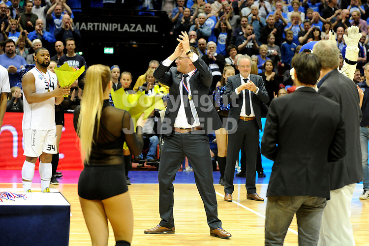 GRONINGEN - Basketbal, Donar - Landstede, Martiniplaza, NBB Bekerfinale, seizoen 2016-2017,  26-03-2017,  Donar coach Erik Braal  is blij
