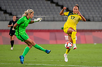 21st July 2021. Tokyo, Japan;  Erin Naylergoalkeeper from New Zealand clears upfield as Kyah Simon 17 from Australia tries to block the kick during the Australia and New Zealand soccer game at the 2021 Tokyo Olympic Games held in Tokyo, Japan.
