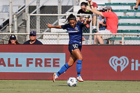 CARY, NC - SEPTEMBER 12: Debinha #10 of the North Carolina Courage plays the ball during a game between Portland Thorns FC and North Carolina Courage at Sahlen's Stadium at WakeMed Soccer Park on September 12, 2021 in Cary, North Carolina.