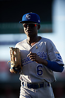 AZL Royals Diego Hernandez (6) jogs off the field between innings of an Arizona League game against the AZL Cubs 1 on June 30, 2019 at Sloan Park in Mesa, Arizona. AZL Royals defeated the AZL Cubs 1 9-5. (Zachary Lucy/Four Seam Images)
