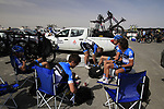 Garmin-Cervelo team riders relax before the start of Stage 4 of the 2012 Tour of Qatar from Al Thakhira to Madinat Al Shamal, Qatar. 8th February 2012.<br /> (Photo Eoin Clarke/Newsfile)