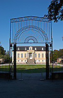 Through the gate. Chateau La Louviere, Pessac Leognan, Graves, Bordeaux, France