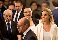 L'Alto rappresentante dell'Unione per gli affari esteri e la politica di sicurezza Federica Mogherini arriva alla Conferenza degli Ambasciatori, alla Farnesina, Roma, 27 luglio 2015.<br /> High Representative of the European Union for Foreign Affairs and Security Policy Federica Mogherini arrives for the Conference of Italian Ambassadors, at the Foreign Ministry headquarters in Rome 27 July 2015.<br /> UPDATE IMAGES PRESS/Riccardo De Luca