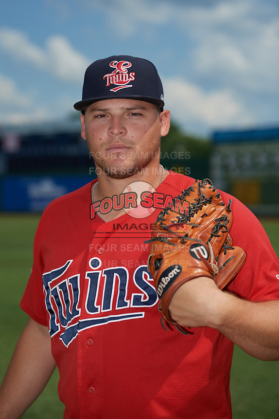 Elizabethton Twins pitcher Juan Gamez (27) poses for a photo before a game against the Bristol Pirates on July 29, 2018 at Joe O'Brien Field in Elizabethton, Tennessee.  Bristol defeated Elizabethton 7-4.  (Mike Janes/Four Seam Images)