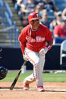 Philadelphia Phillies outfielder Bobby Abreu (53) during a spring training game against the New York Yankees on March 1, 2014 at Steinbrenner Field in Tampa, Florida.  New York defeated Philadelphia 4-0.  (Mike Janes/Four Seam Images)